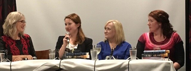 Jaye interviewing bestselling crime fiction authors  Hannah Kent ,  Kathryn Fox  and  Jane Harper  for  Sisters in Crime Australia