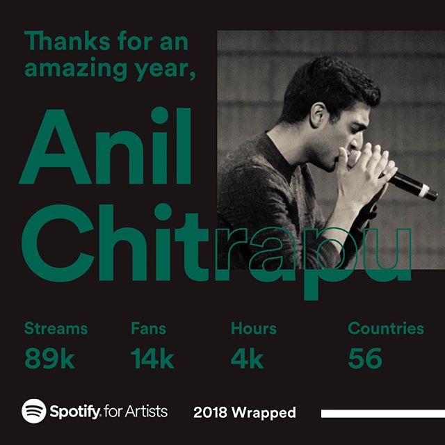 Wow! Feel extremely lucky and grateful to have so many people who chose to listen to my music on @spotify this past year. Really excited to share new original music early 2019, as well as some covers coming a bit sooner 😬  In case you feel like checking some of my tracks out, Spotify artist link is in my bio! 🎵