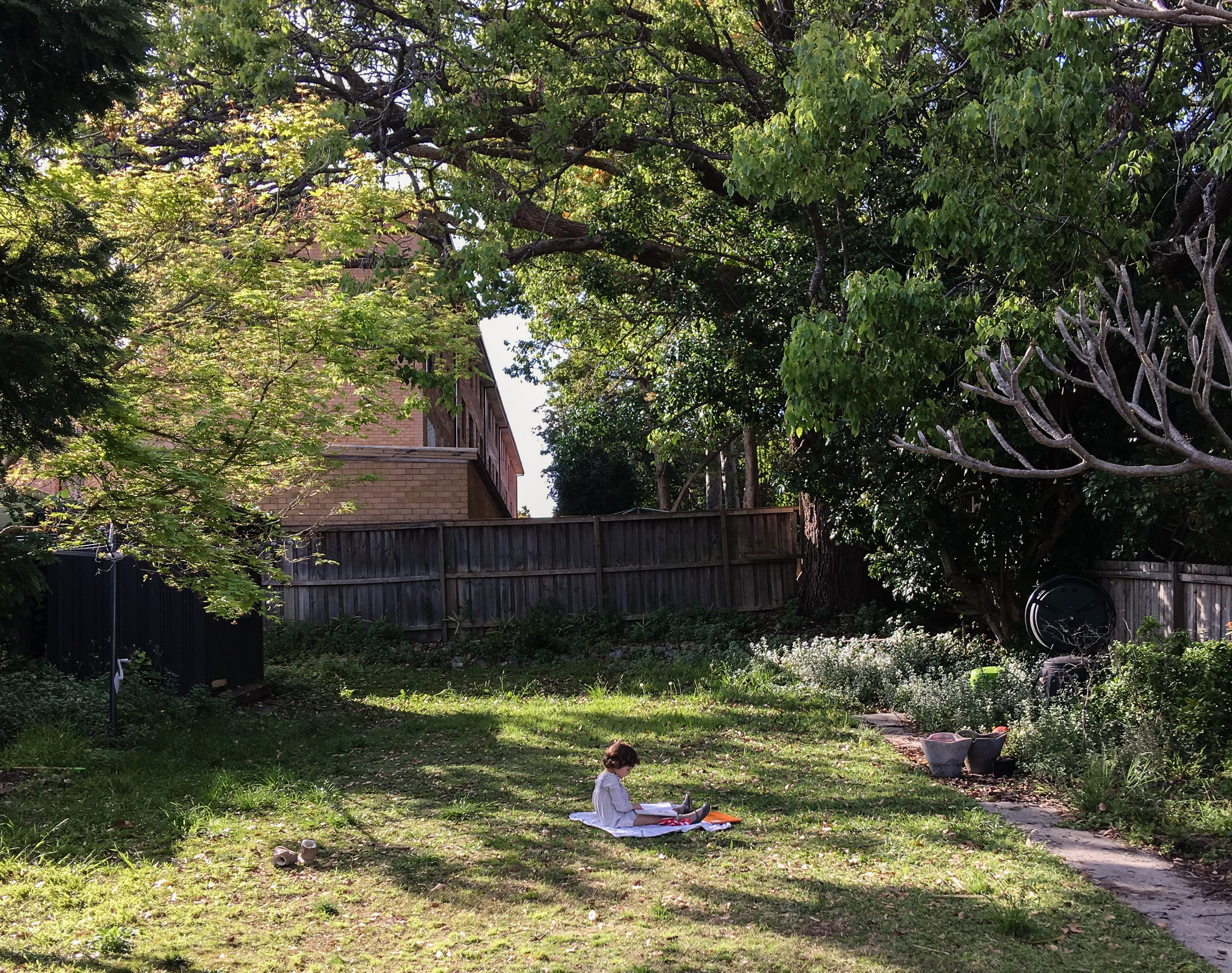 Our eldest reads in the garden at Casa Adams