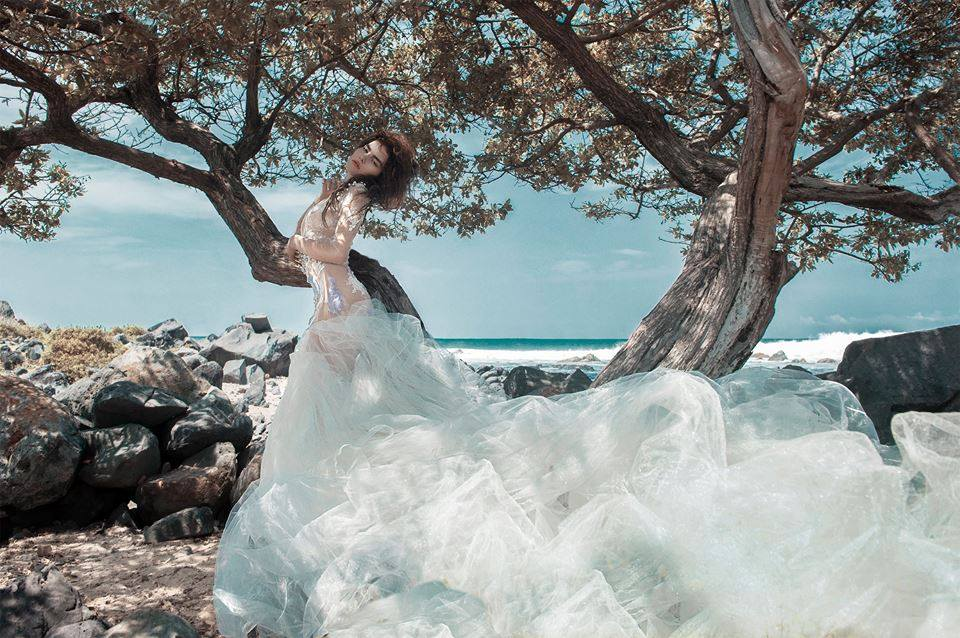 outdoor glamour gown dress water tree pose.jpg