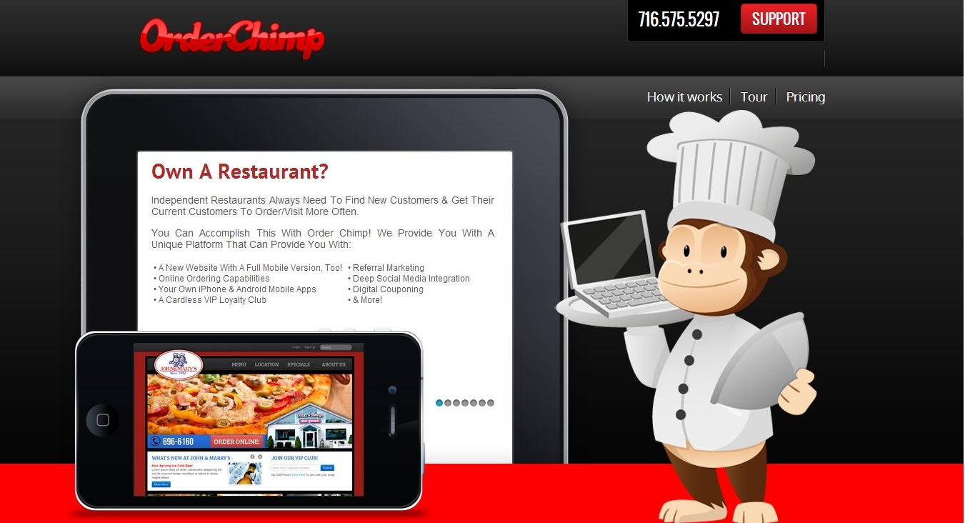 Order Chimp - Mobile ordering applications for restaurants. iPhone & Android mobile applications, a cardless VIP loyalty club, digital couponing & other features.