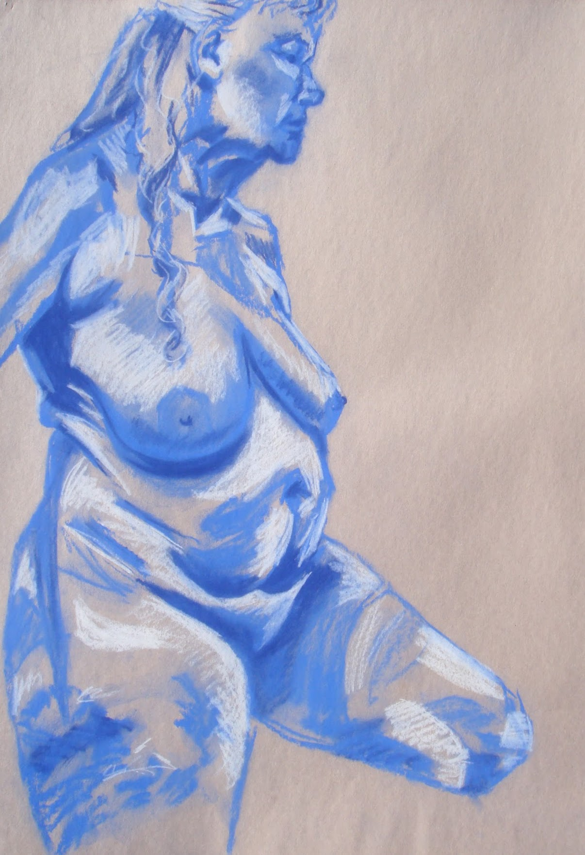Blue Woman , 2009 soft pastel on paper