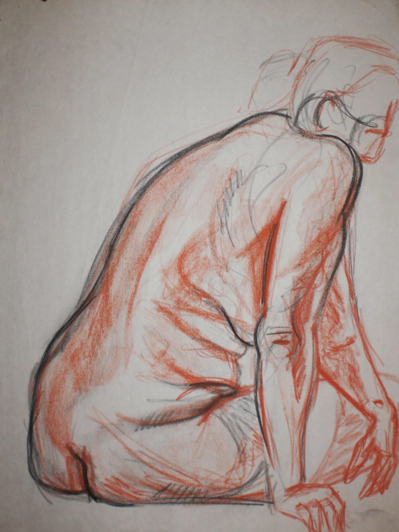 Figure Sketch , 2009 conté crayon on paper