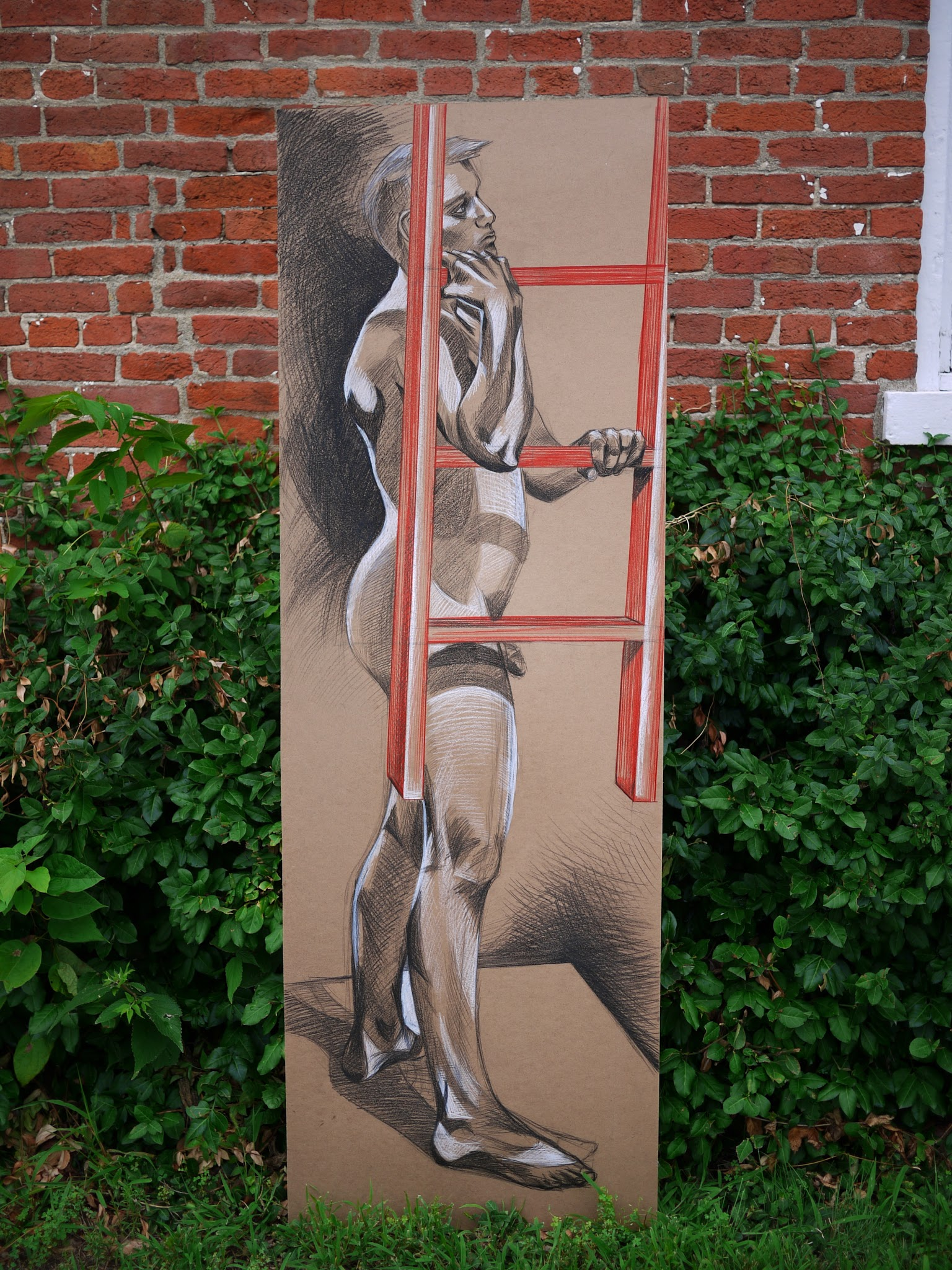 Man with Ladder , 2009 china marker on masonite panel (6' x 2.5')