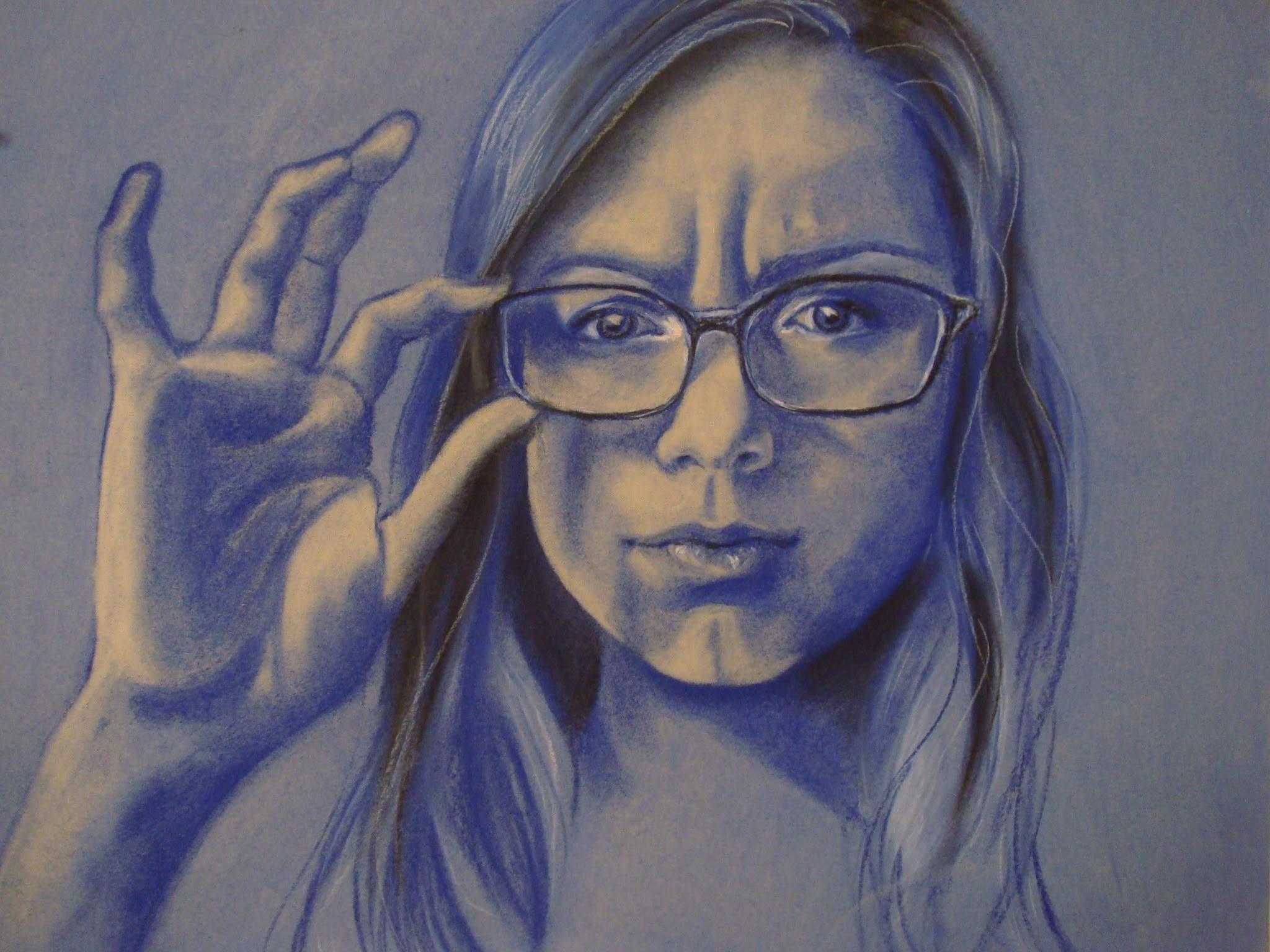 Self Portrait , 2009 soft pastel & conté crayon on paper