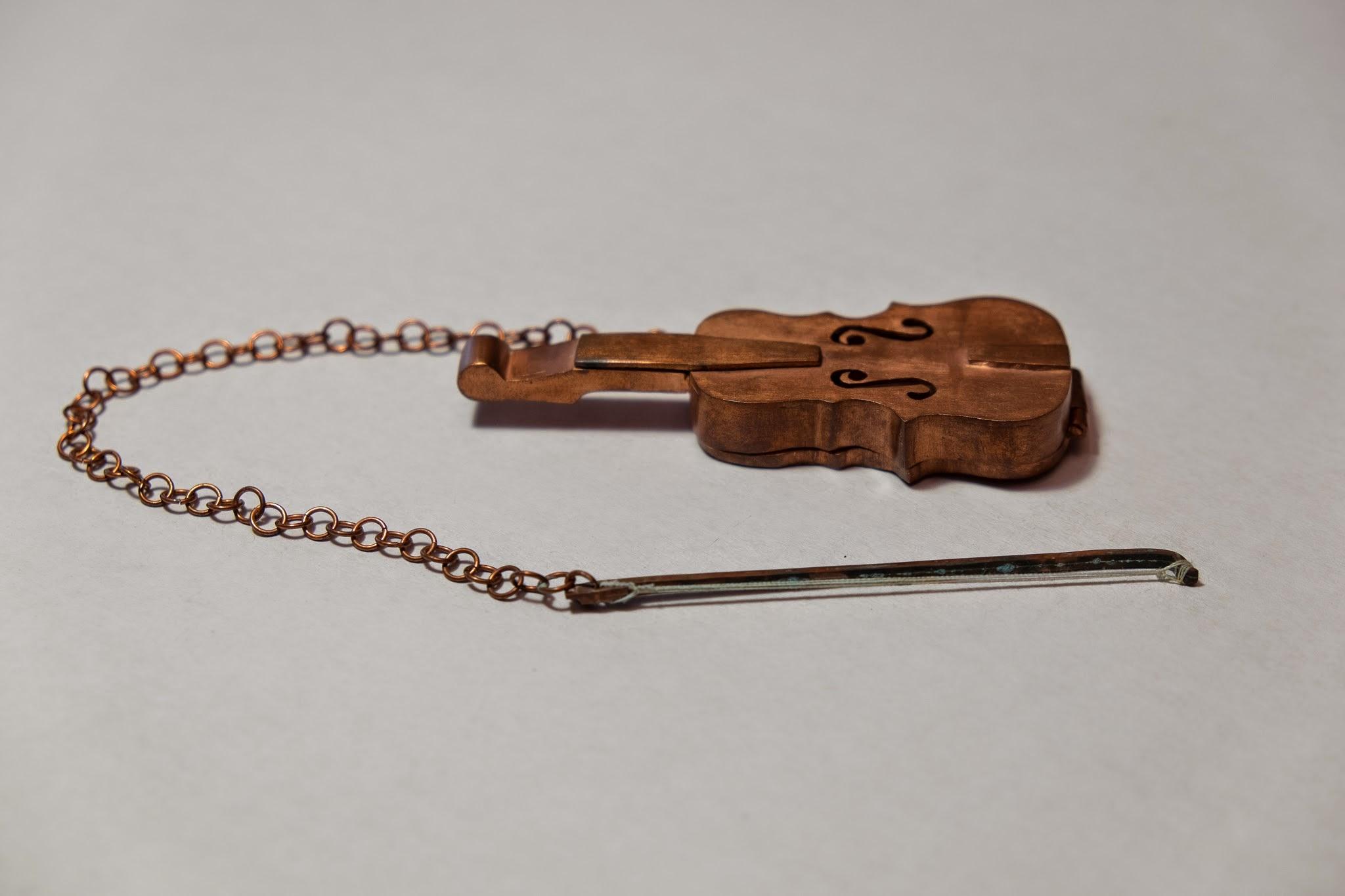 Violin Tea Strainer, 2009 copper