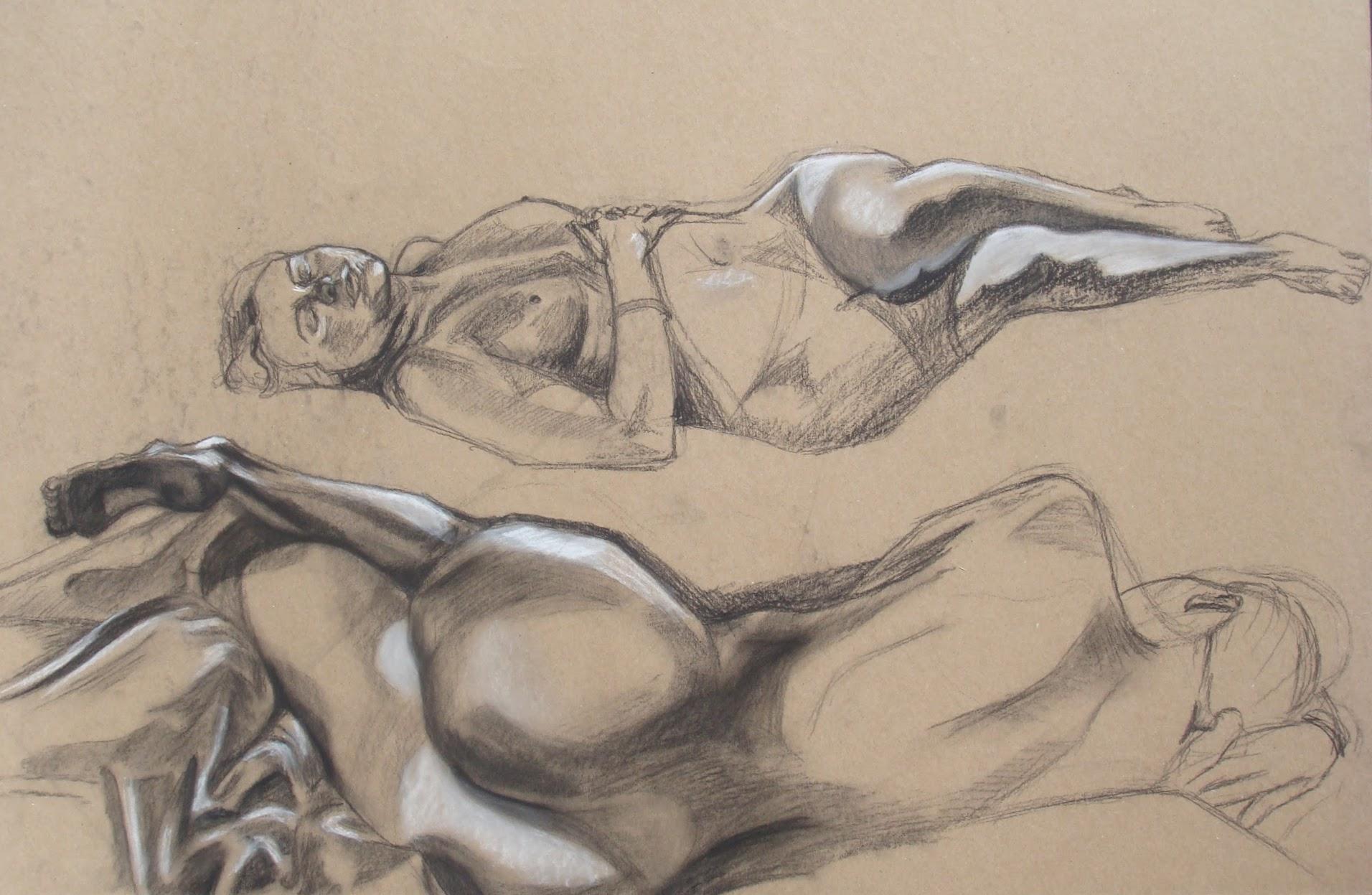Life Drawing, 2009 conté crayon on cardboard