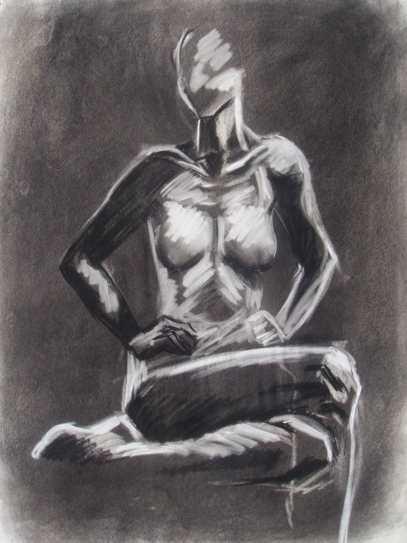 Figure , 2009 charcoal & conté crayon on paper