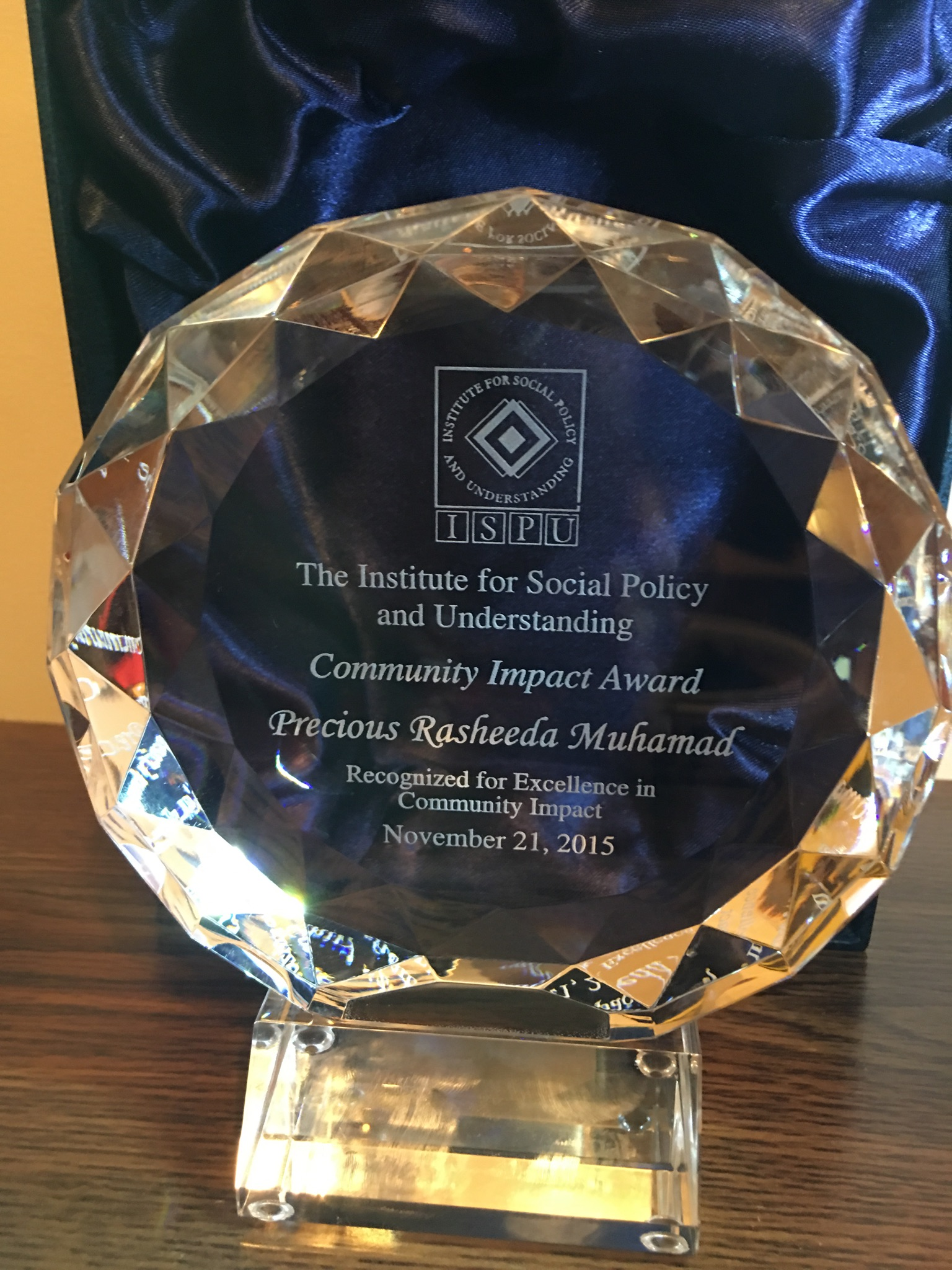 Awarded Community Impact Award from  ISPU