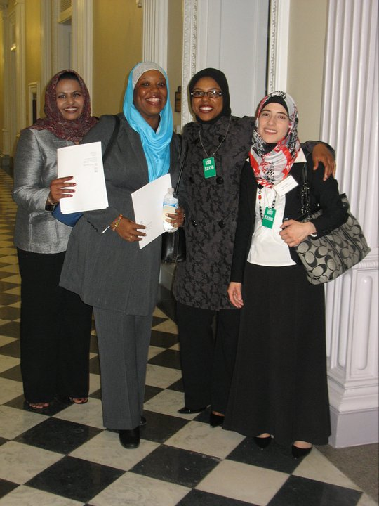Precious at the White House for a briefing and reception along with other young Muslims civic leaders from the American Muslim Civic Leadership Institute (AMCLI). In this picture with Precious: Milia Islam-Majeed (Left), the Executive Director of the South Coast Interfaith Council (SCIC), the largest interfaith council in Southern California encompassing some 35 cities and approximately 1.8 million people; Zarinah Nadir (Right of Precious), a lawyer and the secretary of the board of the Islamic Social Services Association-USA. She is also the co-founder and board member of Al-Mu'minah Young Muslim Women Association, dedicated to instilling activism and leadership skills in young Muslim women; and Amal Killawi (Far Right), a social worker with a specialization in mental health and marriage education. At the time she was coordinator of a research project through the Robert Woods Johnson Foundation focused on addressing health disparities among American Muslims.