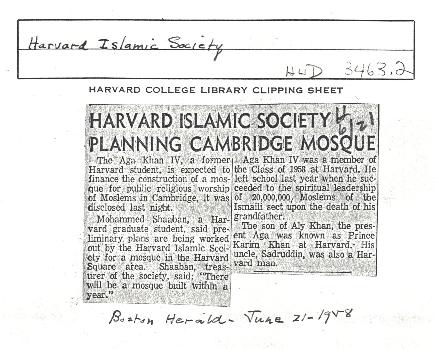 A clipping about the mosque sent to Precious in the summer of 1999 from the Harvard University Archives.