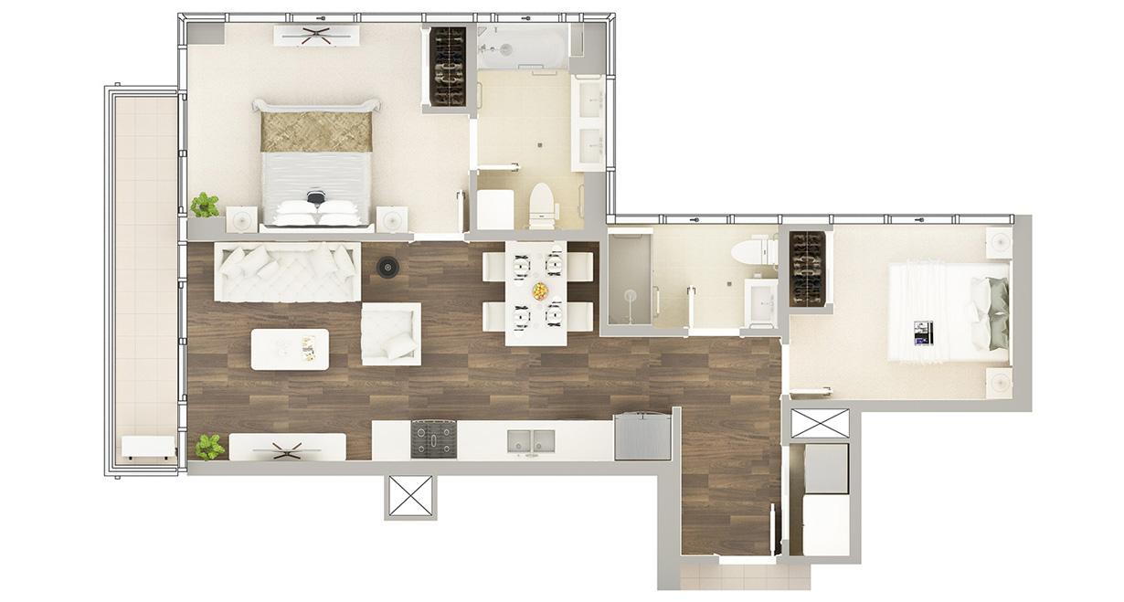Floor Plan of Residence E-1#