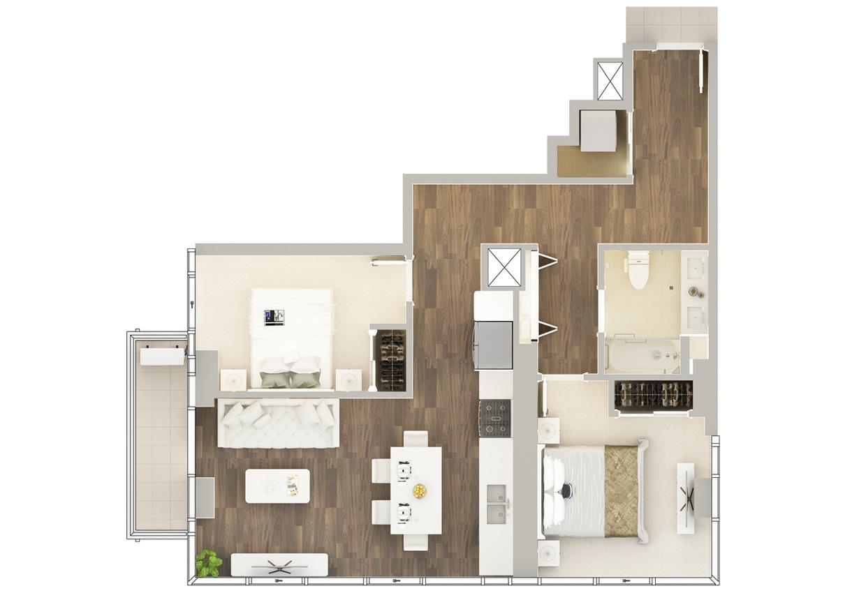 Floor Plan of Residence H-3#