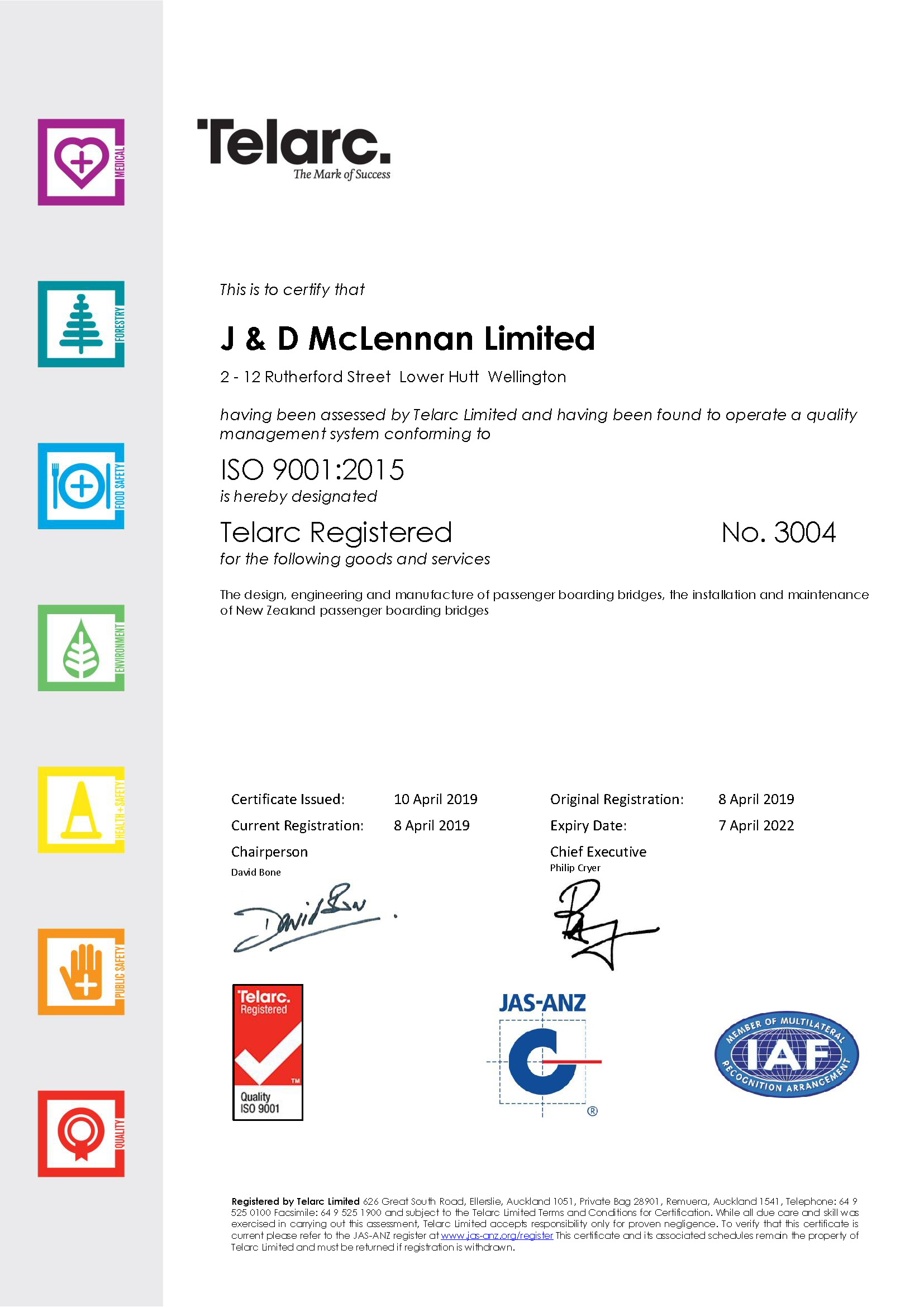 J & D McLennan Certificate ISO9001