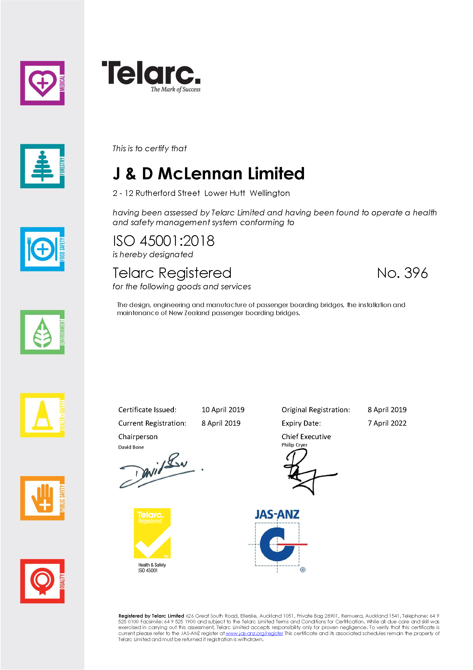 J & D McLennan Certificate ISO45001