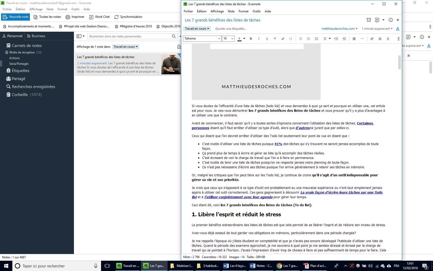 Article enregistré dans Evernote