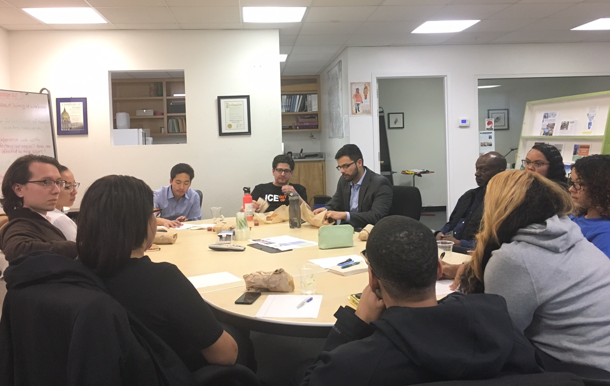 Community members and nonprofit workers at Brightline's office, Nov. 15, 2017