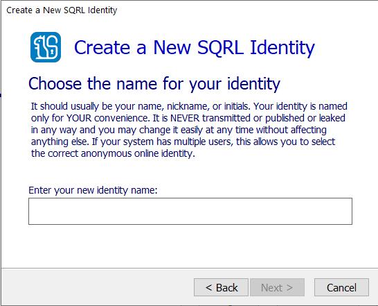 La fenêtre de création d'une identité dans la version Windows de SQRL. (cliquez pour agrandir)