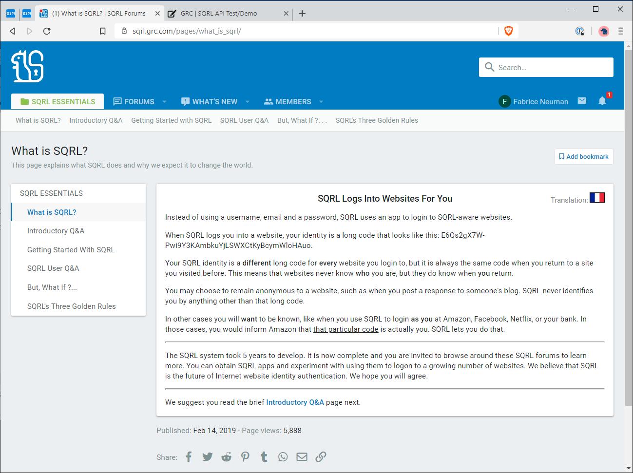 La page SQRL Essentials pour consulter la documentation complète de SQRL, y compris dans sa version française (traduction réalisée par votre serviteur) en cliquant sur le drapeau français en haut à droite. (cliquez pour agrandir)