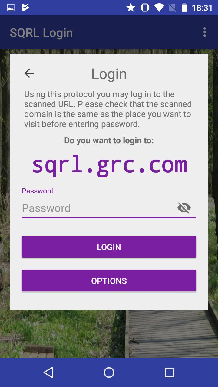 L'application SQRL dans sa version Android demandant le mot de passe pour se connecter au site de démo de SQRL. (cliquez pour agrandir)