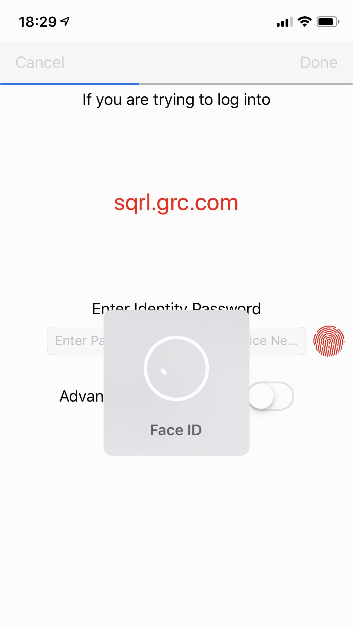 Une fois que vous avez validé une fois votre identité SQRL avec votre long mot de passe, la reconnaissance faciale ou l'empreinte digitale suffit pour valider la connexion via SQRL. (cliquez pour agrandir)