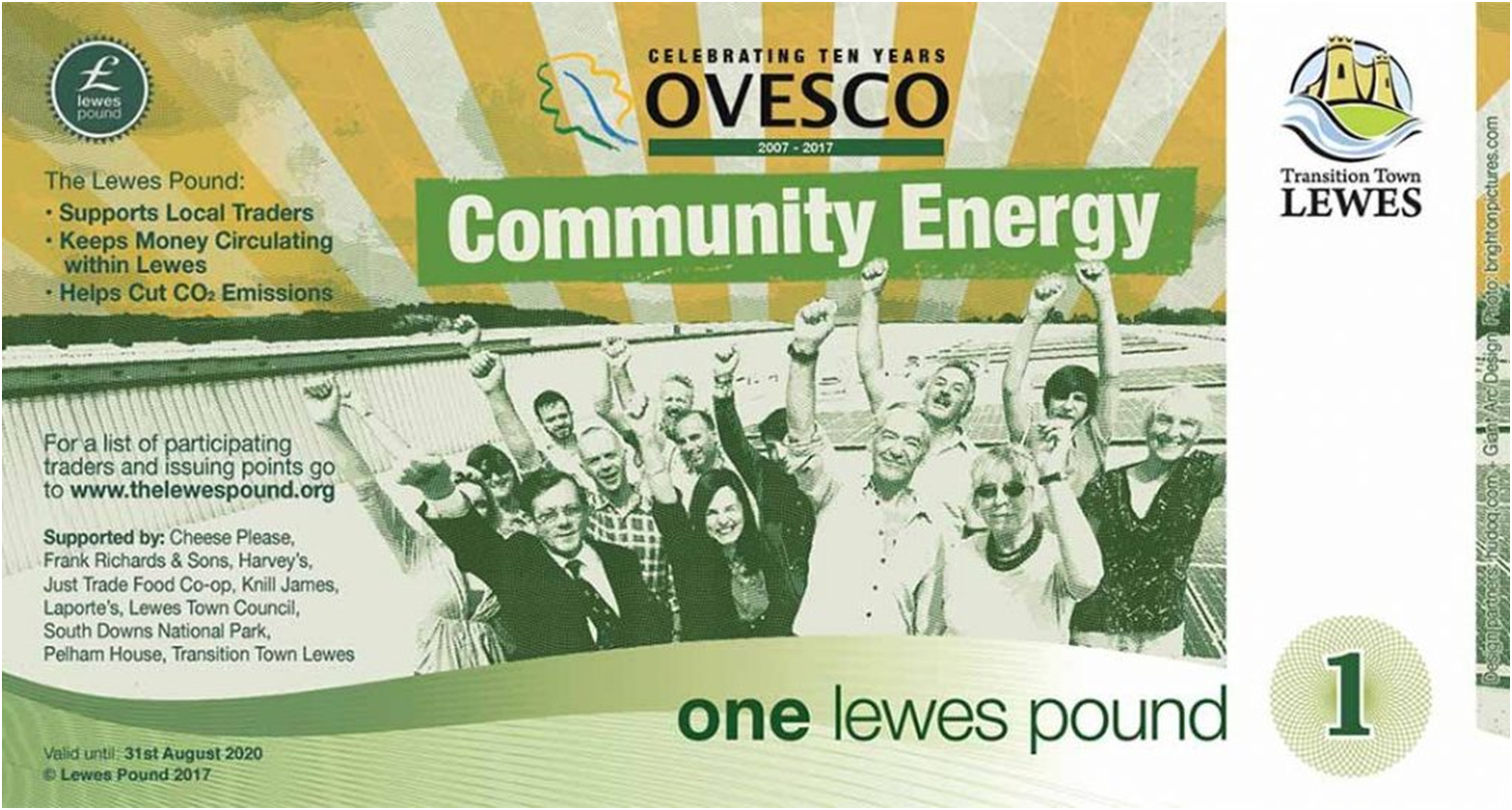 Latest addition of the Lewes Pounds celebrating Ovesco's 10th Birthday