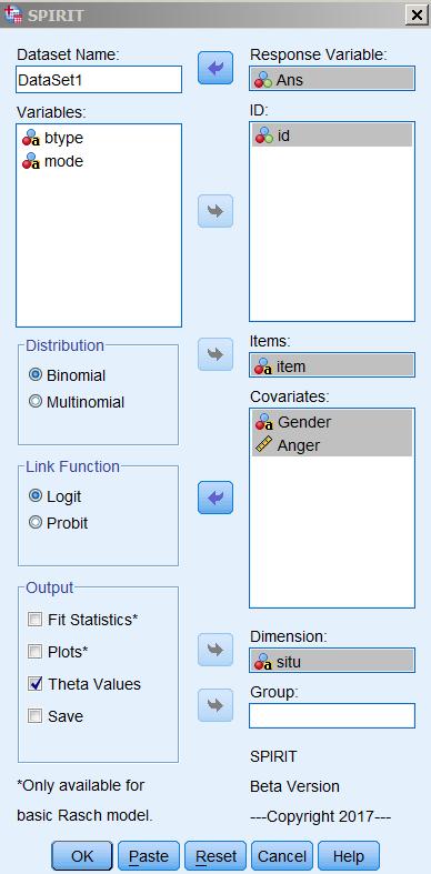 A screenshot of the SPIRIT dialogue box.
