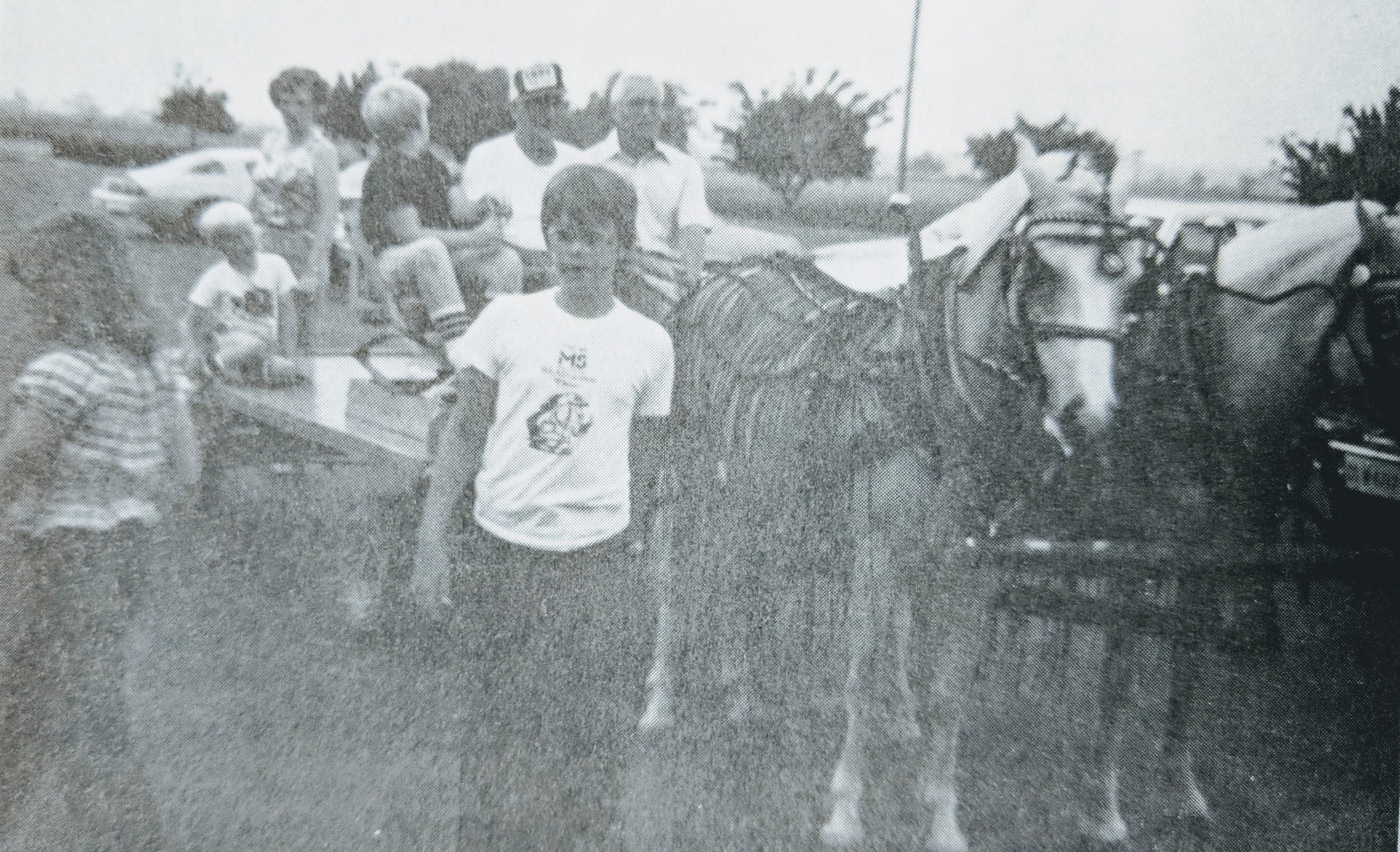 Sunday School Picnic - June 1982 Virgil Vajen, assisted by Paul Franz, gave the children pony wagon rides