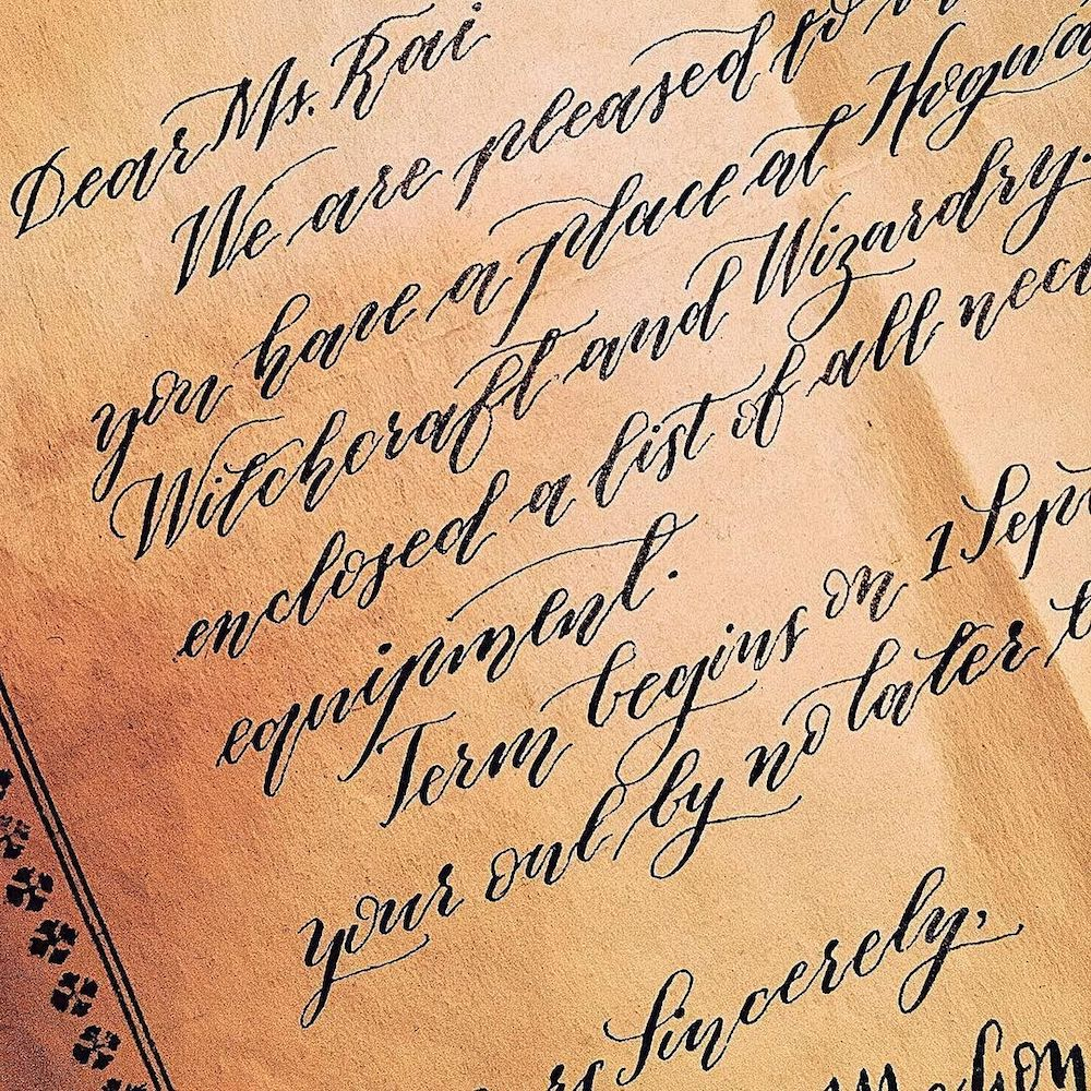 Closeup of the calligraphy