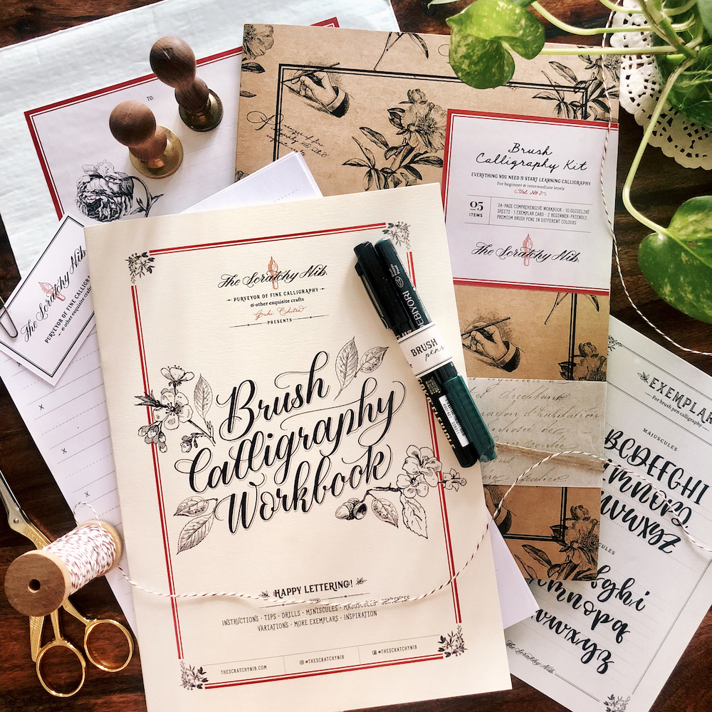 Brush calligraphy kit for lettering beginners in india with practice sheets and brush pens
