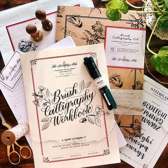 Updated Brush Calligraphy Kits are back in stock ✨  A redesigned version with more inclusions and better details. I'm so proud of how they came out! (PS: launch offer 33% off ✌🏽) Your kit contains: a comprehensive workbook with 24 pgs full of instructions, letter and sentence practice and further exploration • 2 beginner-friendly brush pens • 10 guideline sheets • an exemplar sheet • a folder to keep everything together • detailed package sealed with wax seal and love 💌  Shop at the link in my bio. Production, as always, done by the amazing @thesourcingfactory 💜 Kits available only in India.