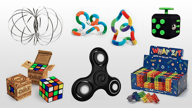"""Coleção de brinquedos do tipo """"fidget toys"""", ou seja, brinquedos para manipular."""