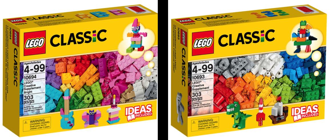 AS CORES:  A caixa da esquerda (que o vendedor me ofereceu quando viu minhas duas filhas) tem mais ou menos 30% de peças rosas e roxas, e as ideias sugeridas são uma guitarra, uma borboleta e um bolo. A caixa da direita (que eu acabei comprando também) não tem peças rosas e as ideias sugeridas mostram um dinossauro, um foguete e um navio.