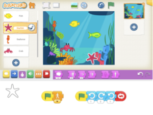 DESENHO NO CENÁRIOS NO SCRATCH JR (4 a 7 anos): Oficina de Programação de Computadores para criar uma história. As crianças criam personagens através de desenhos e ferramentas de pintar, colorir, mudar tamanho e cortar, criando histórias para compartilhar com os amigos e pais.