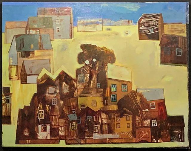 Yan Yeresko | Sun City | 120x95 . . . #thebrodycollection#brodyhouse #yanyeresko #painter #instapicture #pictureoftheday #art #artoftheday #artistoftheday #painting #contemporarypainting #contemporaryart #oilpainting #houses #village #budapestart