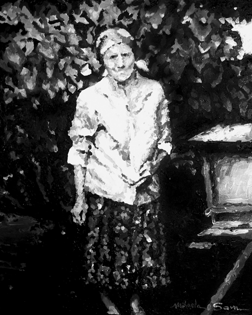 Grandmother Near the Beehive  acrylic on canvas 20 x 16 inches