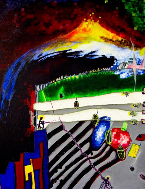 Tuga World  acrylic and thread on canvas 24 x 30 inches