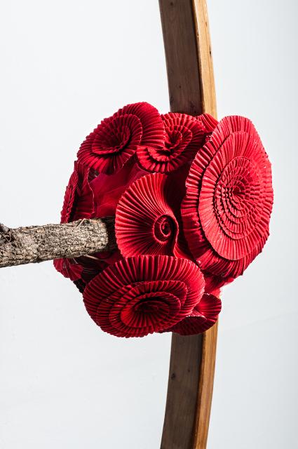 The Rainbow Wheel , 2012 laminated wood, found objects, flocked aluminum, iron 12 x 12 feet (detail)