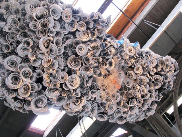 Mihaela's World   2 , 2012 aluminum, tulle, iron and found object 12 x 5 x 2 feet