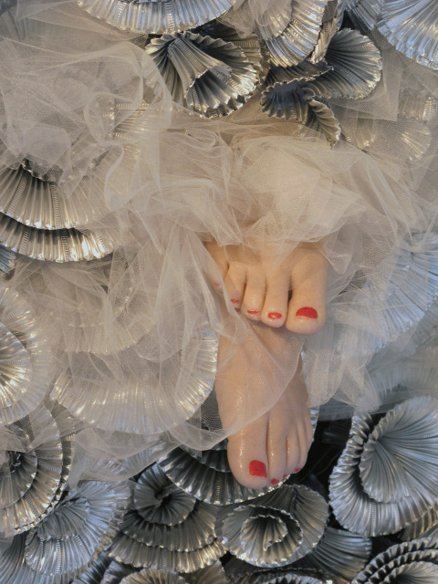 Mihaela's World   2 , 2012 aluminum, tulle, iron and found object 12 x 5 x 2 feet (detail)