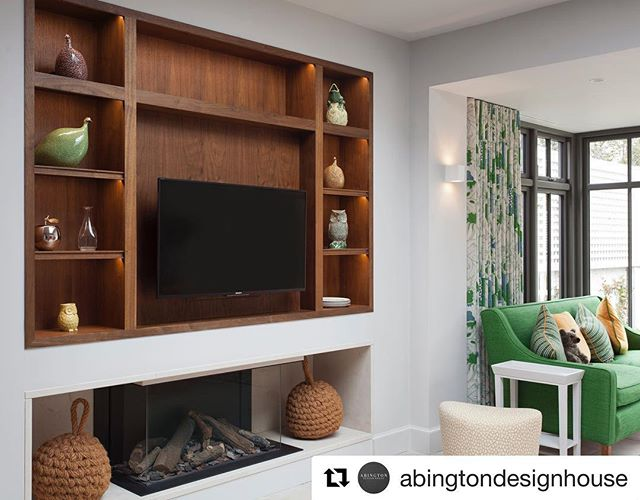 Bespoke walnut joinery design piece to house TV and display shelving from a recent  project we completed in collaboration with @brazilassociates and @abingtondesignhouse #repost