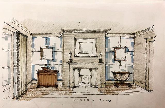 A dining room sketch design for one of our projects in collaboration with @brazilassociates