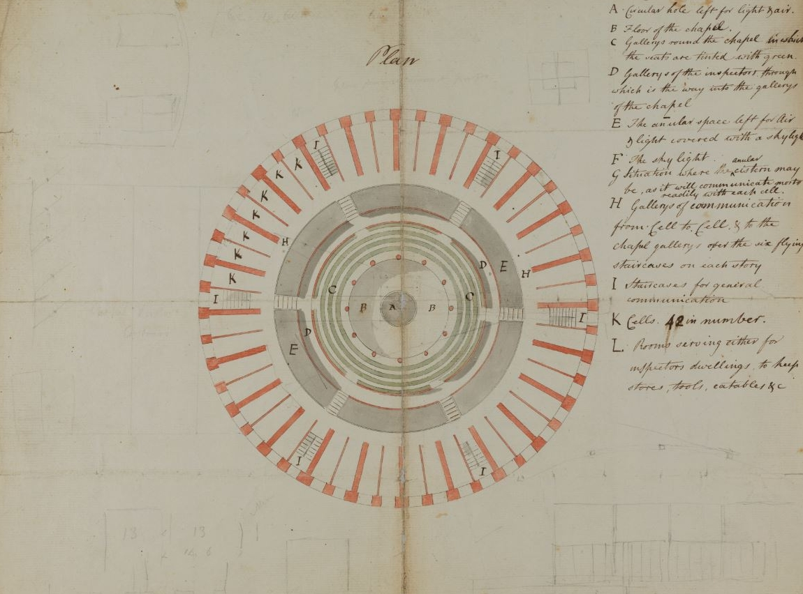 Plan of the panopticon prison.Courtesy UCL Special Collections, image captured by UCL Creative Media Services.