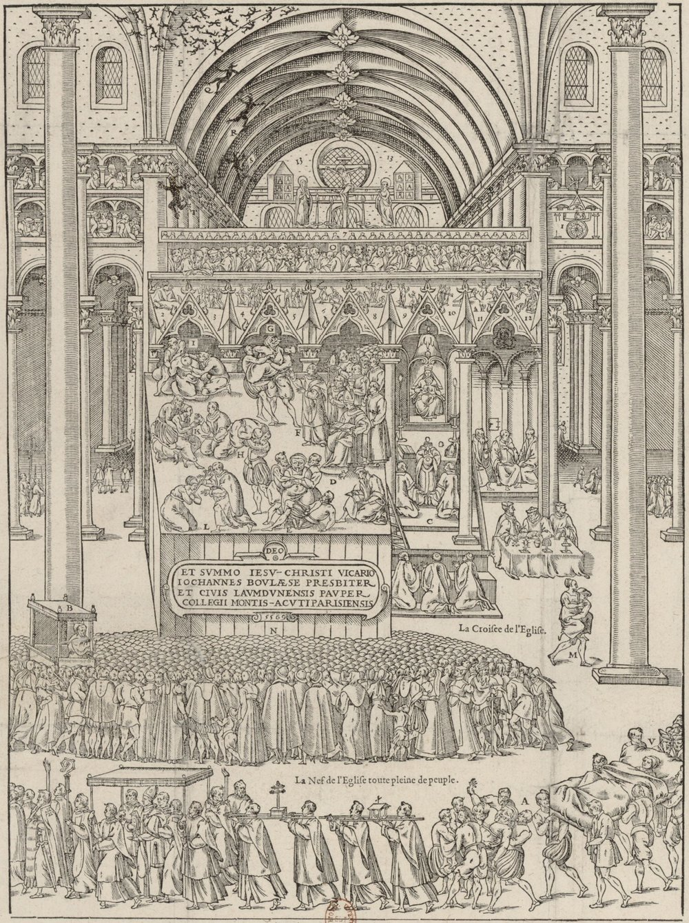 La Carte et Image représentant au vif la triomphante victoire du précieux corps de Dieu sur l'esprit maling Beelzebub, par grand miracle obtenue à Laon mil cinq cens soixante-six. Image courtesy of Bibliothèque nationale de France.