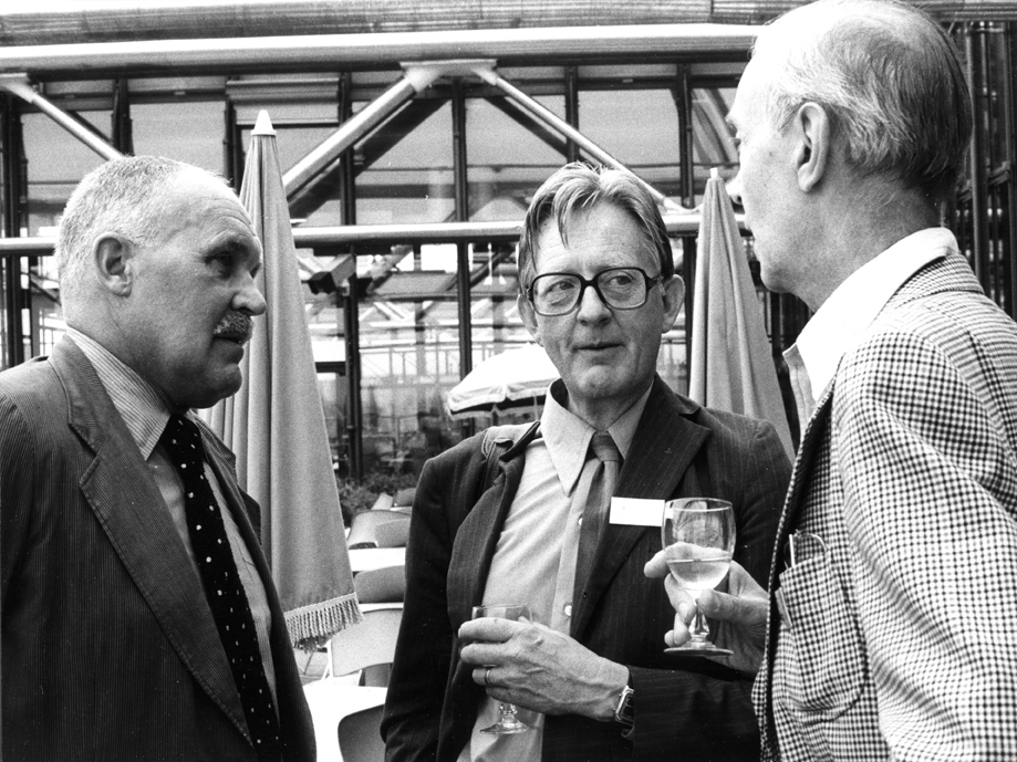 From AICA: General Assembly at Centre Pompidou, Paris, 1981. From the left: Pontus Hultén, Sven Sandström and Pontus Grate. Photo: J.T. Ahlstrand 1.9.1981