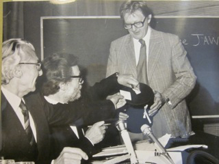 Presidential alection at the AICA congress in Poland 1975. From the left: President René Berger, General secretary Guy Weelen and Sven Sandström.