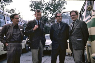 From the AICA Nordic congress, August 1969: From the left: Henning Møller, Denmark, Ole Henrik Moe, Norway, unidentified man, Sven Sandström.