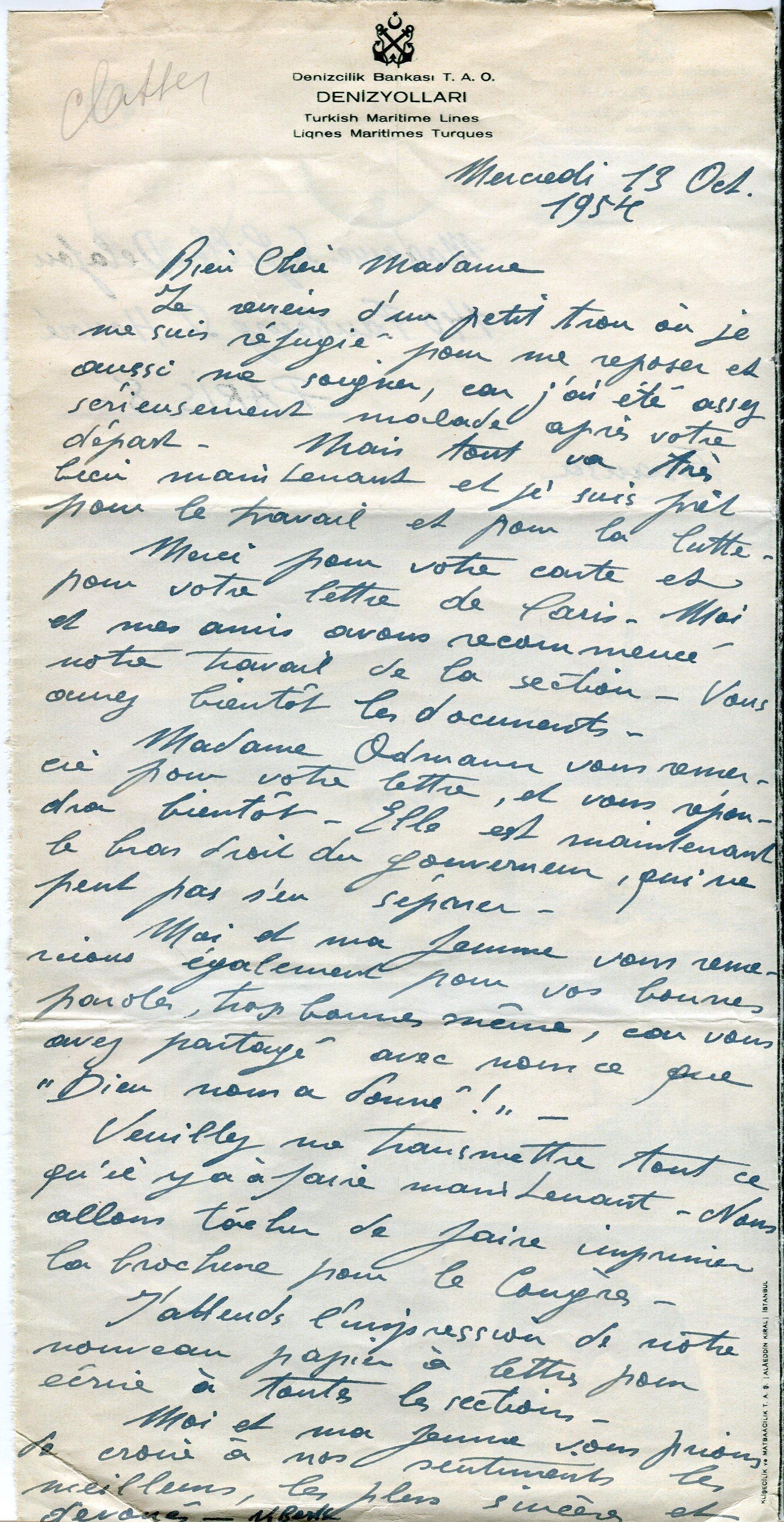 Lettre de Nurullah Berk à Simone Gille-Delafon, 13 octobre 1954, fonds AICA International [FR ACA AICAI THEADM008 28/32], collection INHA – Archives de la critique d'art.