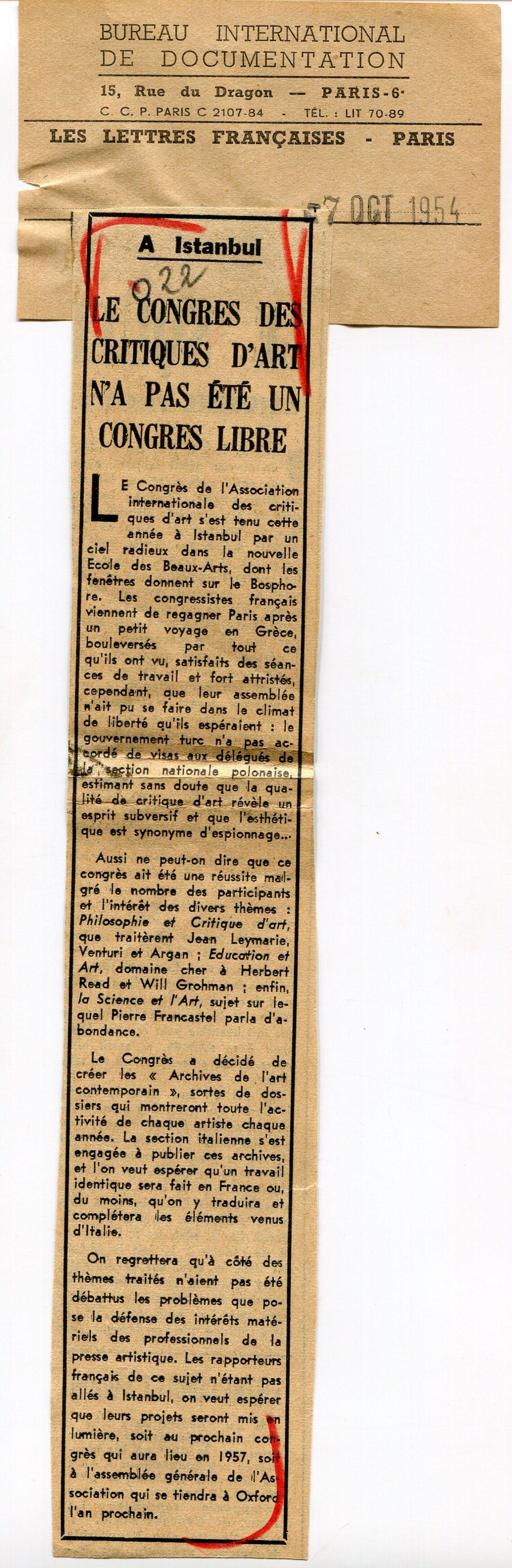 « Le Congrès des critique d'art n'a pas été un congrès libre », coupure de presse, Les Lettres françaises, 7 octobre 1954, fonds AICA International [FR ACA AICAI THE CON007 11/11], collection INHA – Archives de la critique d'art. Lire l'intégralité de la presse   ici.