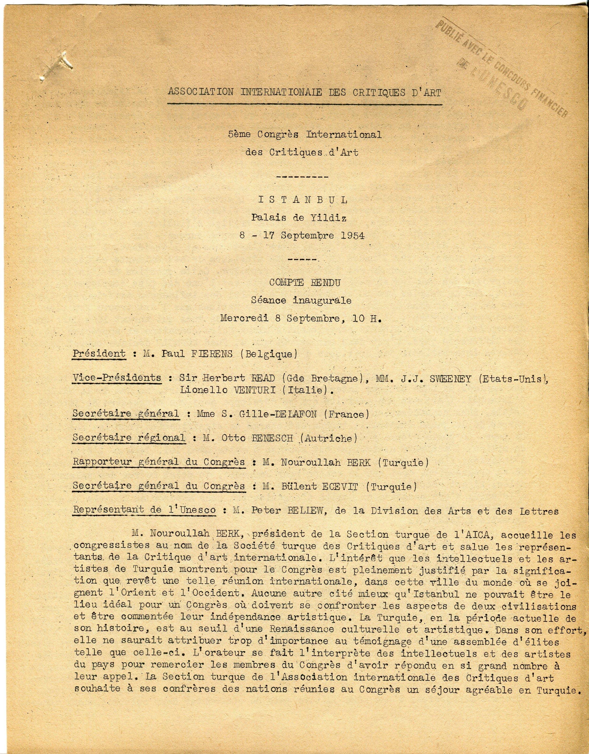 Première page du compte-rendu de la séance inaugurale du V e Congrès de l'AICA, 8-17 septembre 1954, fonds AICA International [FR ACA AICAI THE CON007 10/11], collection INHA – Archives de la critique d'art. Lire le document intégral   ici.